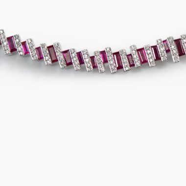 Ruby Baguette Neck Cuff by Paola van der Hulst